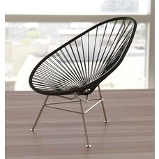 Exklusive Edition Acapulco Stuhl schwarz, Gestell aus Edelstahl
