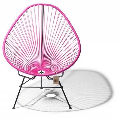 Handmade Acapulco chair fuchsia, black frame