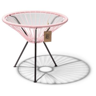 Tavolino Japón rosa pastello con piano in vetro