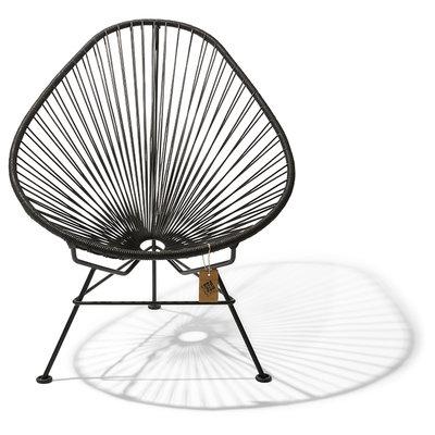 Acapulco Leder Stuhl, schwarzes Leder