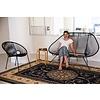 Acapulco Zweisitzer Sofa weiß, schwarzes Gestell, geeignet für 2 bis 3 Personen