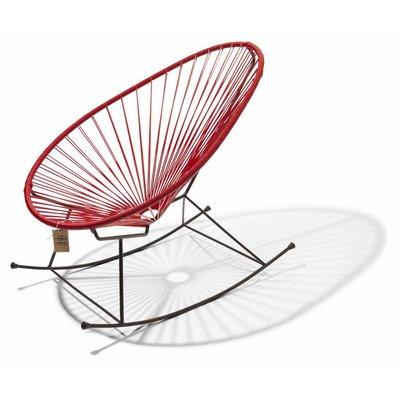 Handgemaakte Acapulco schommelstoel rood met zwart frame