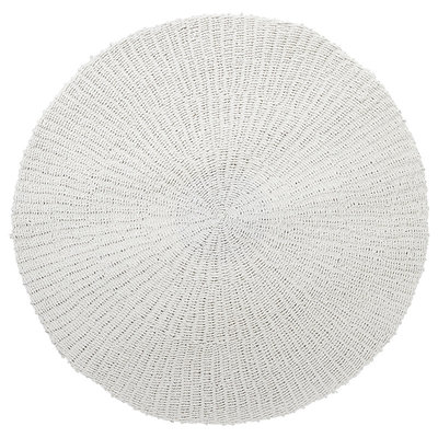 Teppich, rund, handgewebt, weiß