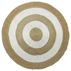 Teppich, rund, handgewebt, braun/weiß