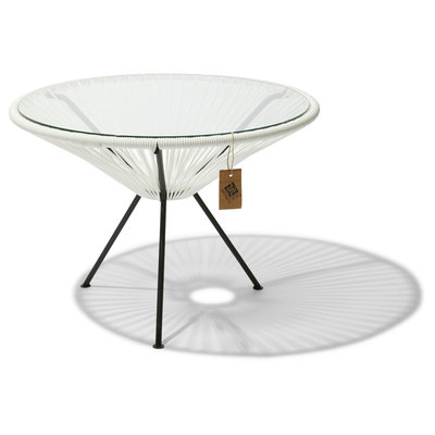 Tavolino Japón XL bianco con piano in vetro