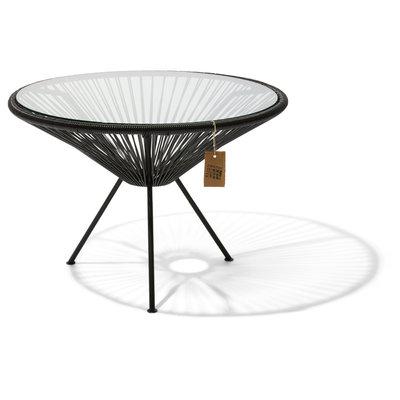 Mesa Japón XL negra con tablero de vidrio