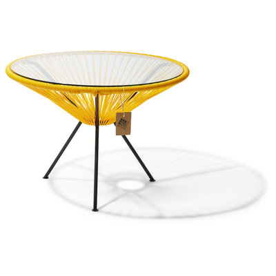 Table Japón XL yellow with glass table top