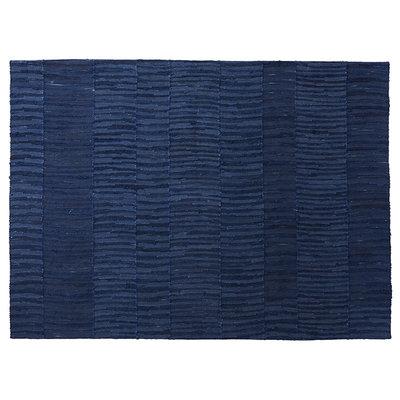 Handwoven indigo blue cotton rug, natural dye 140x100cm