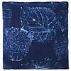 Cushion cover, indigo blue, leaf motif