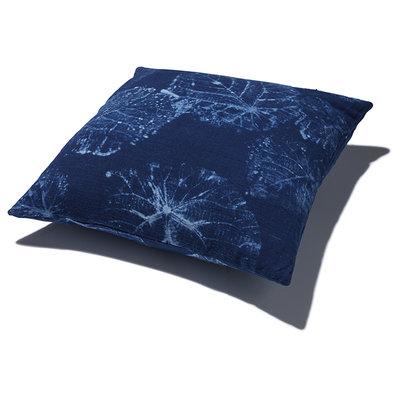 Funda de cojín, azul índigo, motivo de hoja