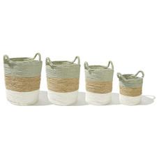 Baskets, set of 4, round, handwoven