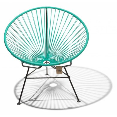Condesa chair turquoise, handmade, black frame