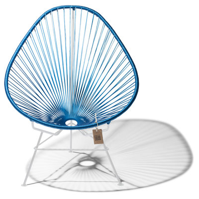 Handgemaakte Acapulco stoel metaal/kobaltblauw, wit frame