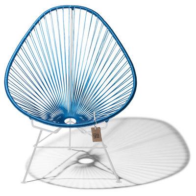 Handmade Acapulco chair metallic/cobalt blue, white frame