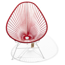 Fauteuil Acapulco rouge, cadre blanc