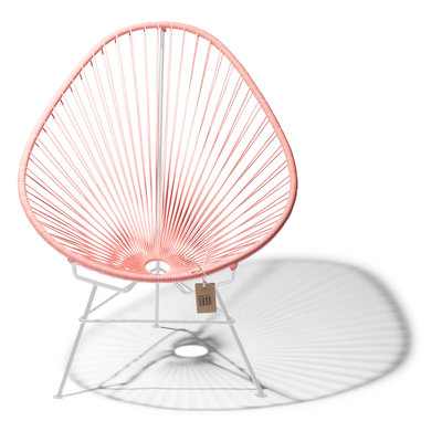 Handmade Acapulco chair salmon pink, white frame