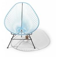 Handmade Acapulco chair pastel blue, black frame