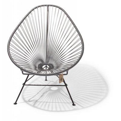 Handmade Acapulco chair silver-grey, black frame