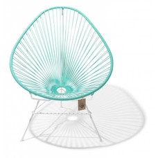 Fauteuil Acapulco turquoise clair, cadre blanc