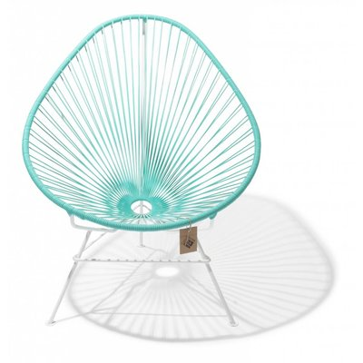Acapulco stoel licht turquoise, wit frame