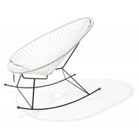 Handmade Acapulco rocking chair white, black frame