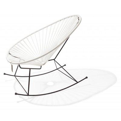 Sedia a dondolo Acapulco fatta a mano, bianca con struttura nera
