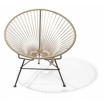 Condesa chair beige, handmade, black frame