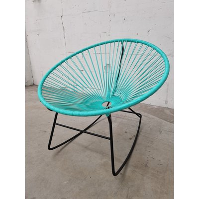 Condesa rocking chair light turquoise, black frame