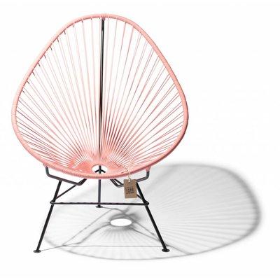 Handmade Acapulco chair salmon pink, black frame - Detachable