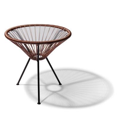 Table Japón taupe métallique avec plateau en verre