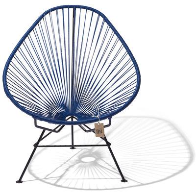 Handmade Acapulco chair navy blue, black frame