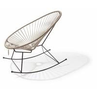 Handgemaakte Acapulco schommelstoel beige met zwart frame