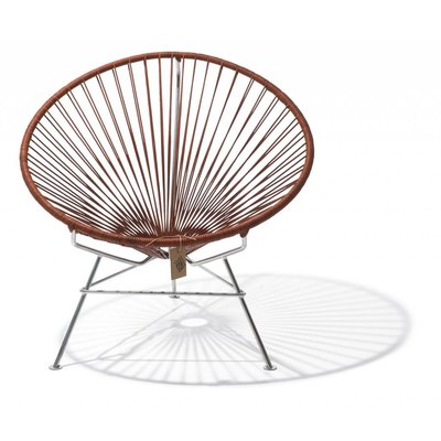Condesa stoel handgeweven leder, frame in chroom