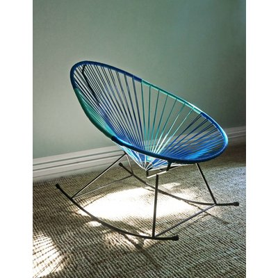 Sedia a dondolo Acapulco bicolore, blu petrolio e turchese chiaro