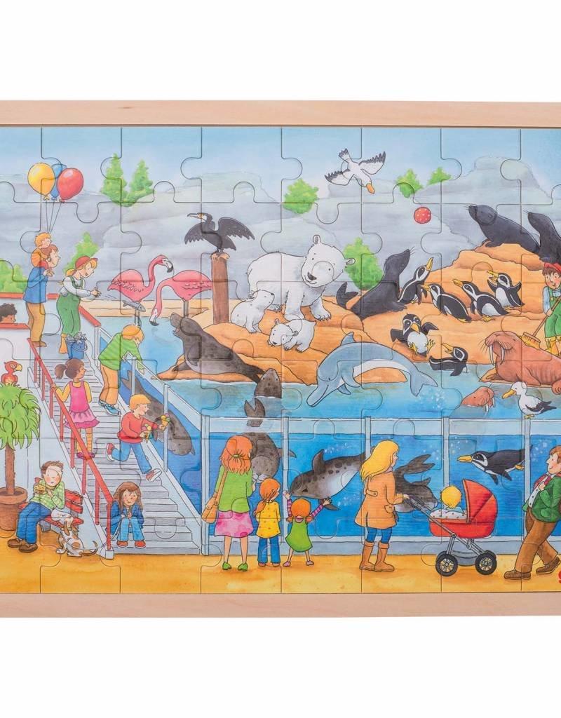 Goki Houten legpuzzel - dierentuin, 48 st.