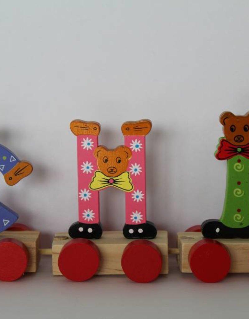 Kidzhout Houten treinletters beren