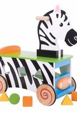 Kidzhout Houten loop- en sorteerwagen Zebra