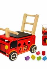 Kidzhout Houten loop- en sorteerwagen Brandweer