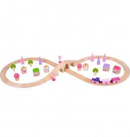 Kidzhout Houten treinset - roze
