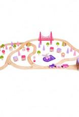 Kidzhout Houten treinset stad - roze