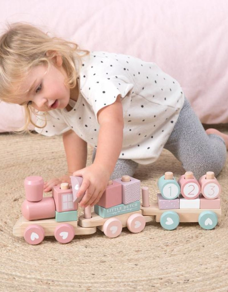Little Dutch Little Dutch houten blokkentrein pink