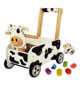 Kidzhout Houten loop- en sorteerwagen  koe