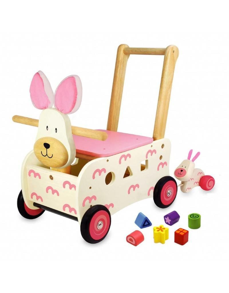 Kidzhout Houten loop- en sorteerwagen konijn