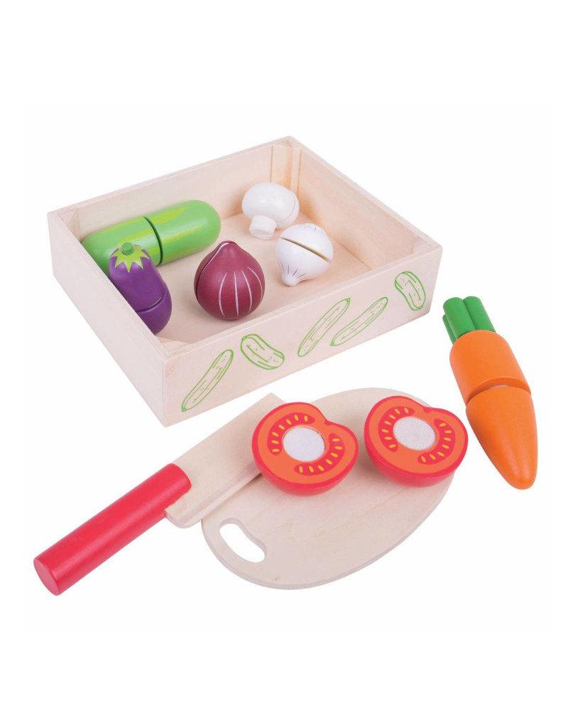 Bigjigs Houten kistje met groenten om te snijden