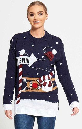 Kersttrui To The Pub - Dames (Maat L)