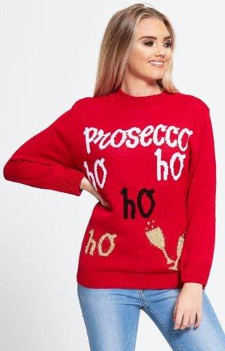 Kersttrui Prosecco Ho Ho Ho Rood - Dames