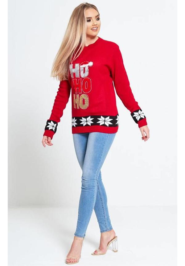 Kersttrui Ho Ho Ho Rood - Dames