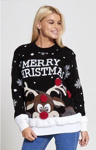 Kersttrui Rudolph Merry Christmas zwart  (Maat L)