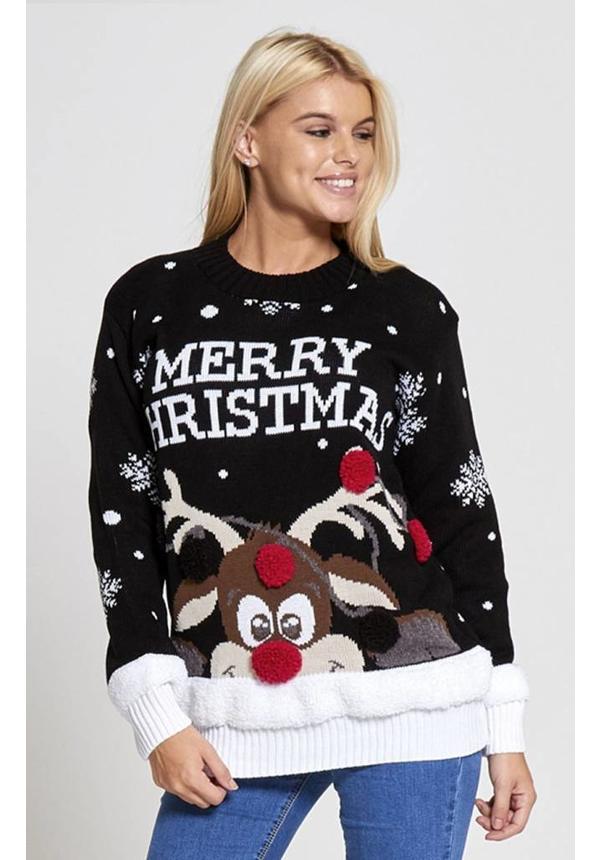 Kersttrui Rudolph Merry Christmas zwart