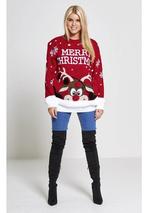 Kersttrui Rudolph Merry Christmas Rood - Dames